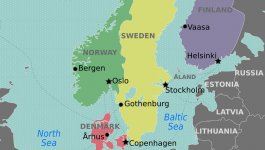 A map of the Nordic countries, showing the Oresund Strait between Denmark and Sweden.
