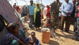 A group of people in a camp in Somalia