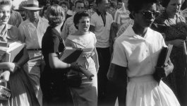Photograph of Elizabeth Eckford and Hazel Bryan, circa 1957
