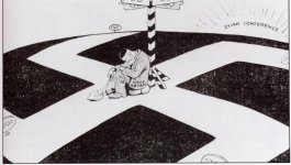 """Political cartoon entitled """"Will the Evian conference guide him to freedom?"""" in The New York Times, July 3, 1938. Depicts a man labelled """"Non-Aryan"""" sitting at the center or an intersection in the shape of a swastika."""