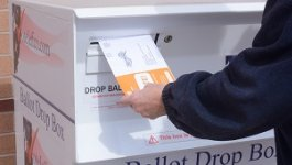 Image of a person inserting a ballot into a ballot box.