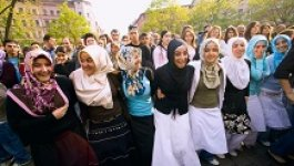 group of young Muslim women and girls wearing veils.