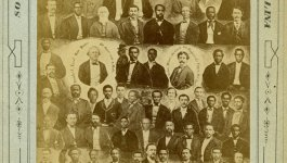 Collage of many portraits of 1876 legislature in South Carolina. Depicts white and black legislative members following the 1867 Reconstruction acts.