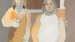 Painting titled Genocide of the Armenians by Arshile Gorky. Shows a woman seated and a young  man standing next to her. Based on a photograph of the artist and his mother.