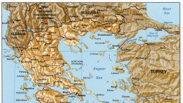 A map of Greece and Turkey.
