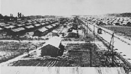 A view from above of an internment camp with rows of identical buildings lined past the horizon.