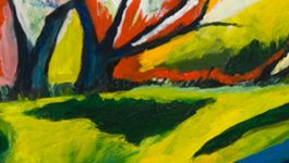 Abstract painting with green, yellow, navy, and red brush strokes.