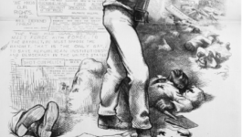 Cartoon in Harper's Weekly, Oct. 28, 1876. African American man standing with a rifle, in the background other African Americans lay dead and buildings burned. Quotes in the block on left call for meeting force with force.