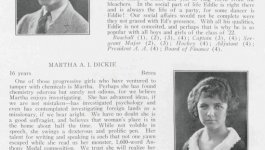 A page from a yearbook showing a 16-year-old Martha Sharp, including a biography.