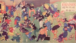 Woodblock print dated 1870 featuring both humans and animals in Western and Japanese dress fighting with each other.