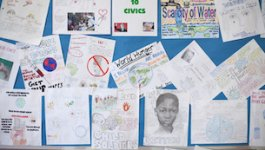 Image of bulletin board of student work on social activism