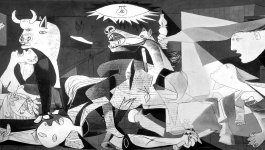 Pablo Picasso's black and white, Cubist style depiction of destructed town of Guernica.