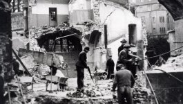 A synagogue in ruins following the Kristallnacht pogrom in November 1938.
