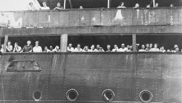 Passengers stand on the deck of German ocean liner, The St. Louis.