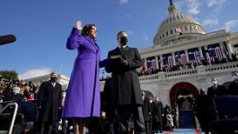 Kamala Harris being sworn in as the 49th Vice President of the United States.