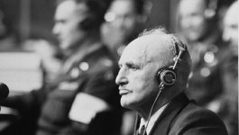Julius Streicher, publisher of Der Stürmer, sits in the court room in Nuremberg during his trial.