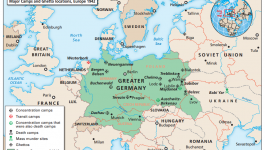Map of locations of concentration camps, death camps, mass murder sites and ghettos in Europe 1942
