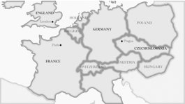 A map showing the nations and borders of Europe during World War II.