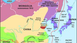 Map showing sphere(s) of influence that many Western nations had in Russia, Mongolia, China and Southeast Asia during 1850-1914.