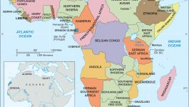 Map of Africa in 1914 identifying colonial presence. Map of Africa in 1878 indicates far less colonial presence.