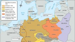 Map showing territory conquered, annexed, and remilitarized by Nazi Germany between 1933 and 1939.