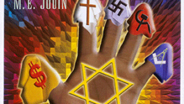 Cover of The Protocols of the Elders of Zion, Spanish language edition. Features an illustration of a hand with the Star of David, a dollar sign, a cross, a swastika, a hammer and sickle, and a masonic symbol.
