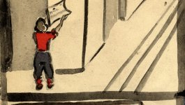 Watercolor painting by Elisabeth Kaufmann, portraying herself putting up a notice on the side of a building.