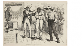 A political cartoon from Harper's Weekly depicting the intimidation techniques that the Democratic Party used to suppress southern black votes in the election of 1876.