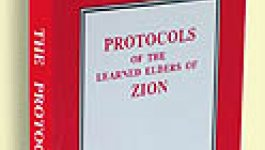 Red and white book cover for the Protocols of the Elders of Zion.