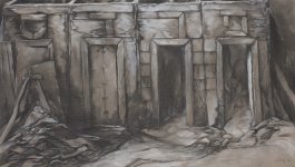 Artwork by Samuel Bak. Depicts a roofless structure with four doors, each with a Hebrew letter above.
