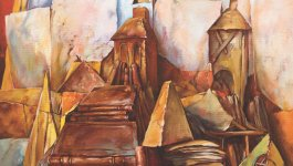 Painting by Samuel Bak. Depicts a partial Star of David, a pile of books, and two towers in the background.