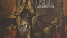 """Artwork by Samuel Bak depicts a sign reading """"Life"""", garment and stone fragments, a pear, and a goblet."""