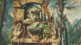 Painting by Samuel Bak. Depicts a monument overgrown with plants. Evokes the famous Warsaw ghetto boy photo.