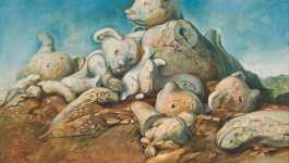 Painting by Samuel Bak. Depicts a pile of disassembled teddy bears and teddy bear parts.