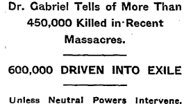 "New York Times headline from September 25, 1915 reading ""Says Extinction Menaces Armenia."""