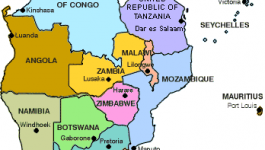 Southern region of Africa, with visible countries in different colors (Democratic Republic of the Congo, United Republic of Tanzania, Malawi, Zambia, Angola, Namibia, Botswana, Zimbabwe, Mozambique, South Africa, Lesotho, and Swaziland)