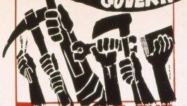 """Hands raised in protest hold a book, tools, and paintbrushes carry, and a flag that says """"the people shall govern."""""""