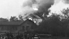 A crowd of people look on as smoke billows from the roof of a synagogue in Rostock.