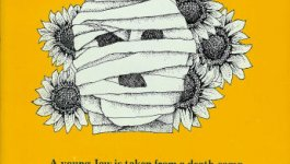 The cover of The Sunflower by Simon Wiesenthal. Features a yellow background, with a bandaged face superimposed over a group of sunflowers.