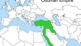 Map showing the Ottoman Empire in green. Empire no longer in North Africa by 1913. Only a small amount of isolated territory in Europe.
