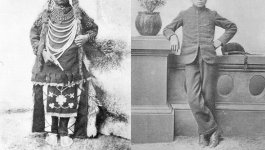 On the left is a boy with long hair wearing traditional Indigenous attire. On the right is the same boy with short hair wearing a suit.