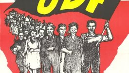 "Poster advertising a rally in Capetown contains an illustration of people marching carrying a ""UDF"" flag."
