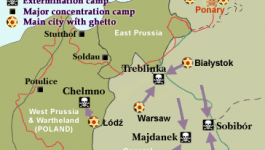 A map of eastern Europe depicting concentration camps and ghettos.