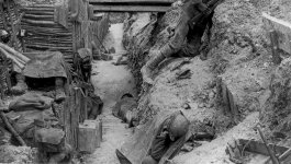 A photograph of trenches in France taken in 1916.
