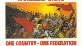 Illustration on poster shows South Africans protesting, two carrying red flags and one a hammer.