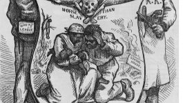 "Man with patch labeled ""White League"" shaking hands with KKK member over shield illustrated with skull and crossbones and African American couple holding baby. In background, man hanging from tree."