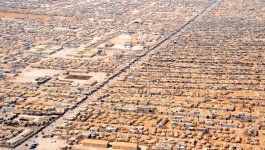 Aerial view of a refugee camp.