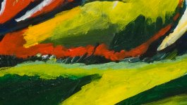 Abstract painting with green, yellow, navy, pink, and red brush strokes.
