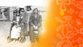 1900s era family photo outdoors of Indigenous Canadians in Western Clothing. A man, woman, and two children. Yellow and Orange floral overlay on image.