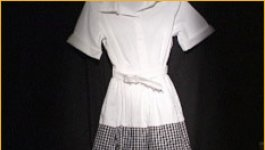 A 1950s-style  black and white dress that Elizabeth Eckford wore on her first day of school.